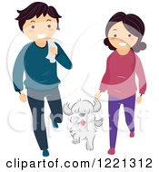 Clipart Of A Happy Couple Walking With Their Dog Royalty Free Vector Illustration