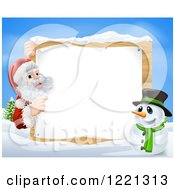 Clipart Of Santa Claus And A Snowman By A Winter Sign Royalty Free Vector Illustration