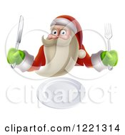 Clipart Of A Young Santa Claus Ready For Dinner Royalty Free Vector Illustration