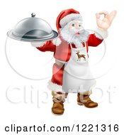 Clipart Of Santa Claus Gesturing Ok Wearing An Apron And Holding A Food Platter Royalty Free Vector Illustration