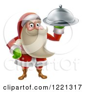 Clipart Of A Young Santa Claus Holding A Food Platter Royalty Free Vector Illustration