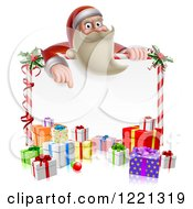 Clipart Of A Young Santa Claus Pointing Down To A Candy Cane Sign With Gift Boxes Royalty Free Vector Illustration