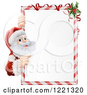 Clipart Of Santa Claus Looking Around And Pointing To A Candy Cane Sign With Holly Royalty Free Vector Illustration