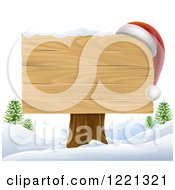 Wooden Christmas Sign With A Santa Hat In A Winter Landscape