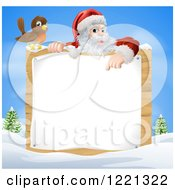 Clipart Of A Bird By Santa Pointing Down At A Wood Sign In A Winter Landscape Royalty Free Vector Illustration by AtStockIllustration