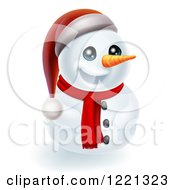 Clipart Of A Christmas Snowman Wearing A Scarf And Santa Hat Royalty Free Vector Illustration