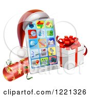 Clipart Of A Smart Phone With A Santa Hat Christmas Cracker And Gift Box Royalty Free Vector Illustration by AtStockIllustration