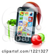 Clipart Of A Black Smart Phone With A Santa Hat Christmas Baubles And Gift Box Royalty Free Vector Illustration