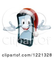 Clipart Of A Christmas Smart Phone Mascot Wearing A Santa Hat Royalty Free Vector Illustration