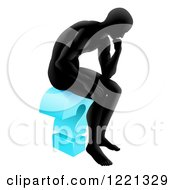 Clipart Of A Black Silhoeutted Man Thinking On A Blue Question Mark Royalty Free Vector Illustration by AtStockIllustration