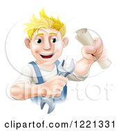 Clipart Of A Happy Worker Man Holding A Wrench And Degree Royalty Free Vector Illustration