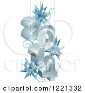 Clipart Of A 3d Year 2014 Suspended With Star Ornaments In Gray And Blue Royalty Free Vector Illustration