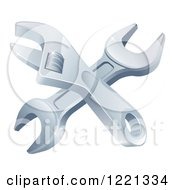 Clipart Of Crossed Spanner And Adjustable Wrenches Royalty Free Vector Illustration