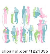 Clipart Of Green Pink And Blue Silhouetted Parents With Young Children Royalty Free Vector Illustration by AtStockIllustration