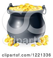 Clipart Of A Black Cauldron With Gold Coins Royalty Free Vector Illustration by AtStockIllustration