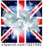 Clipart Of A 3d 2014 And Fireworks Over A Union Jack Flag Royalty Free Vector Illustration by AtStockIllustration