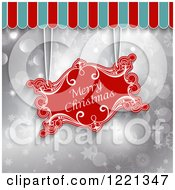 Clipart Of A Merry Christmas Greeting Sign Suspended From An Awning Over Silver Stars Bokeh And Snowflakes Royalty Free Vector Illustration