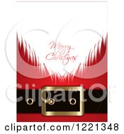 Clipart Of A Merry Christmas Greeting On Santas Beard Against His Suit Royalty Free Vector Illustration