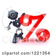 Clipart Of A 3d Blue Android Robot With A Red Percent Symbol Royalty Free Illustration