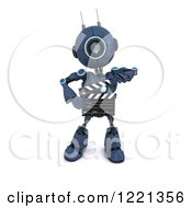 Clipart Of A 3d Blue Android Robot Holding A Movie Clapper Board Royalty Free Illustration