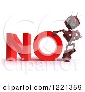 Clipart Of A 3d Red Android Robot With The Word No Royalty Free Illustration