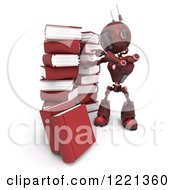 Clipart Of A 3d Red Android Robot With Stacks Of Books Royalty Free Illustration