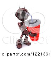 Clipart Of A 3d Red Android Robot With A Giant Fountain Soda Royalty Free Illustration