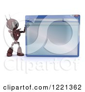 Clipart Of A 3d Red Android Robot Pointing To A Computer Window Royalty Free Illustration