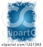 Clipart Of A Blue Background Bordered With White Snowflakes Royalty Free Illustration