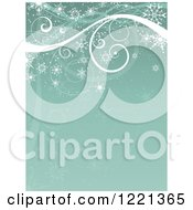 Clipart Of A Retro Green Christmas Or Winter Background Of Swirls And Snowflakes Royalty Free Vector Illustration by KJ Pargeter