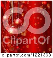 Suspended Christmas Baubles Over Waves Stars Bokeh And Snowflakes On Red