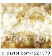 Clipart Of A Golden Christmas Background Of Stars Flares And Bokeh 2 Royalty Free Illustration