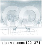 Clipart Of Silhouetted Deer And Trees In The Snow Royalty Free Vector Illustration by KJ Pargeter