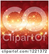 Clipart Of A Red Flare Background With Bokeh And A Burst Royalty Free Vector Illustration