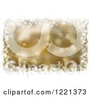 Clipart Of A Gold Christmas Bokeh Background Bordered In White Snowflakes And Stars Royalty Free Illustration