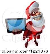 3d Super Hero Santa Holding Out A Tablet Computer
