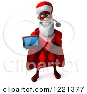 3d Super Hero Santa Holding Out A Tablet Computer 2