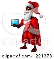 3d Super Hero Santa Holding Out A Tablet Computer 3