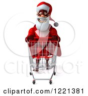 Clipart Of A 3d Super Hero Santa Pushing A Shopping Cart 3 Royalty Free Illustration