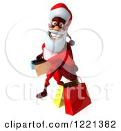 Clipart Of A 3d Super Hero Santa Carrying Shopping Bags 3 Royalty Free Illustration