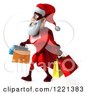 Clipart Of A 3d Super Hero Santa Carrying Shopping Bags 4 Royalty Free Illustration