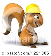 Clipart Of A 3d Squirrel Construction Worker Mascot Facing Right Royalty Free Illustration