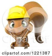 Clipart Of A 3d Squirrel Construction Worker Mascot Smiling Over A Sign Royalty Free Illustration