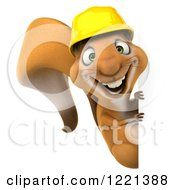Clipart Of A 3d Squirrel Construction Worker Mascot Smiling Around A Sign Royalty Free Illustration