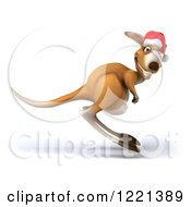 Clipart Of A 3d Christmas Kangaroo Hopping By Royalty Free Illustration