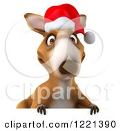 Clipart Of A 3d Christmas Kangaroo Over A Sign Royalty Free Illustration