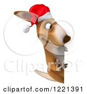 Clipart Of A 3d Christmas Kangaroo Looking Around A Sign Royalty Free Illustration
