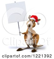 Clipart Of A 3d Christmas Kangaroo Holding A Sign Royalty Free Illustration