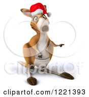 Clipart Of A 3d Christmas Kangaroo Pointing Royalty Free Illustration