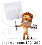 Clipart Of A 3d Lion Holding A Soccer Ball And Sign Royalty Free Illustration